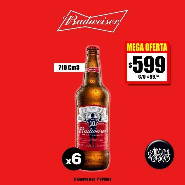 MEGA OFERTA-Budweiser 710Cm3 x 6 edición Messi Desc. Op. Express