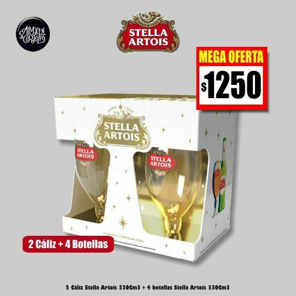 MEGA OFERTA - 2 Cáliz Stella + 4 Botellas Stella Artois 330Cm3