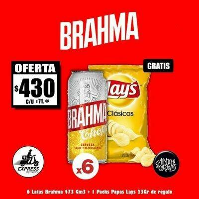 OFERTA  - 6 Brahma Lata 473Cm3 + LAYS . Sólo Express