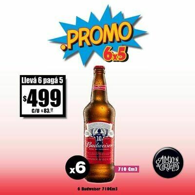 PROMO 6x5 -Budweiser 710Cm3 x 6 edición Messi Desc. Op. Express