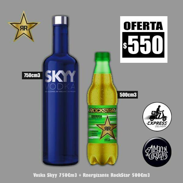 1 Vodka Skyy 750Cm3 + 1 RockStar 500Cm3. Sólo Express Delivery