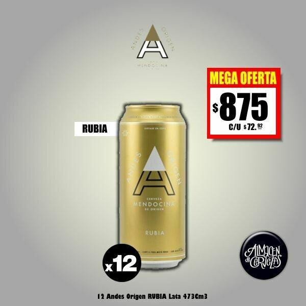 MEGA OFERTA - 12 Andes Origen RUBIA Lata 473Cm3