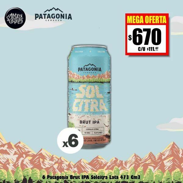MEGA OFERTA -6 Latas Patagonia Solcitra Brut IPA 473Cm3.