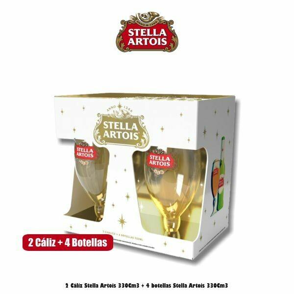 2 Cáliz Stella + 4 Botellas Stella Artois 330Cm3