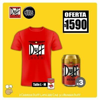 OFERTA - Remera DUFF + 3 Latas DUFF 330Cm3