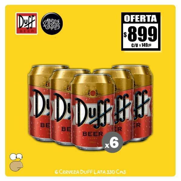 OFERTA - 6 Latas Duff 330Cm3