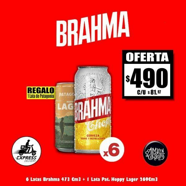 OFERTA - 6 Brahma Lata 473Cm3 + 1 Pat. Hoppy REGALO. Sólo Express