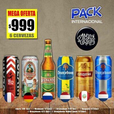 PACK INTERNACIONAL - 6 Cervezas de 500Cm3