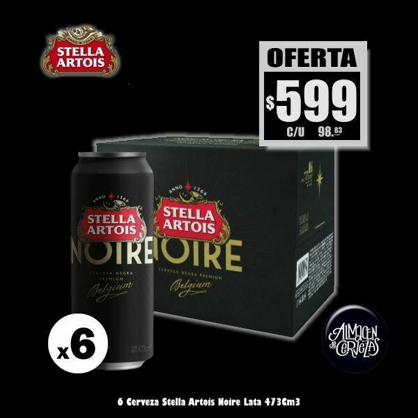 OFERTA - 6 Stella Artois NOIRE Lata 473Cm3