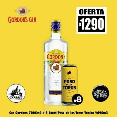 OFERTA-Gin Gordon s + 8 Latas Paso de los Toros. Op.EXPRESS