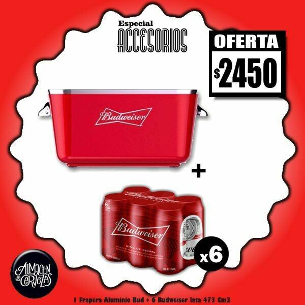 ESPECIAL ACCESORIOS - 1 Frapera Aluminio + 6 Bud Lata 473Cm3