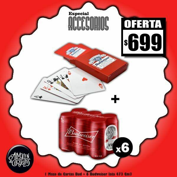 ESPECIAL ACCESORIOS - Mazo Cartas + 6 Bud Lata 473Cm3