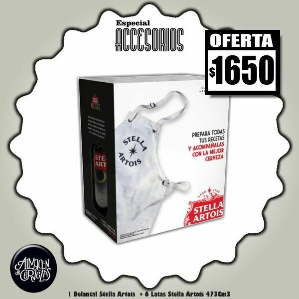 ESPECIAL ACCESORIOS - Delantal + 3 Stella + 3 Stella Noire Latas 473Cm3