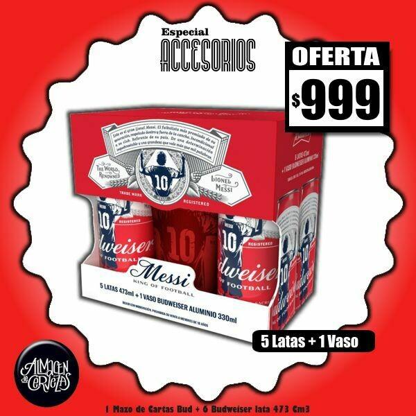 ESPECIAL ACCESORIOS - 5 Latas Bud 473Cm3 + 1 Vaso Aluminio Messi