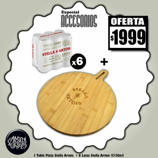ESPECIAL ACCESORIOS-Tabla Pizza Stella + 6 Stella Lata 473Cm3