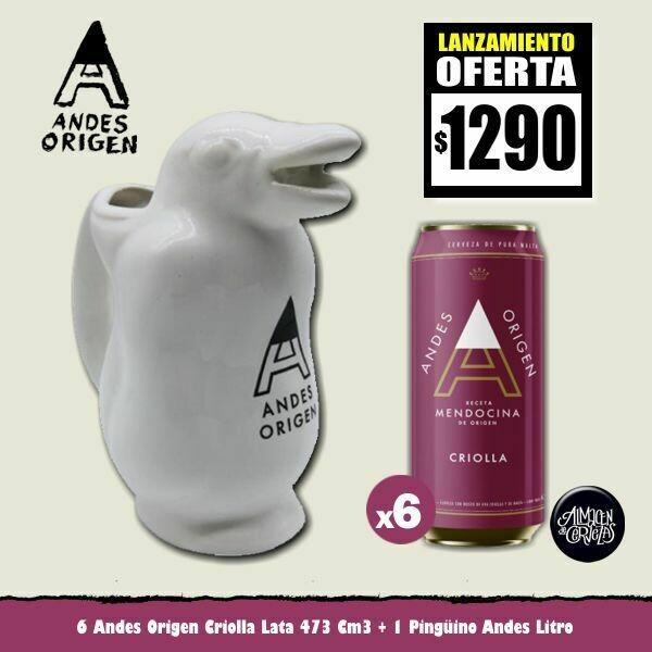 LANZAMIENTO- 6 Latas Andes Criolla + 1 Pingüino Andes Litro