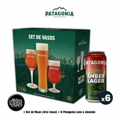Set Vasos Patagonia + 6 Latas Patagonia 473Cm3 a elección.