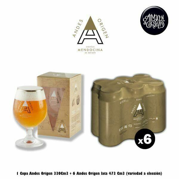 6 Latas Andes Origen 473cm3  +1 Copa Andes
