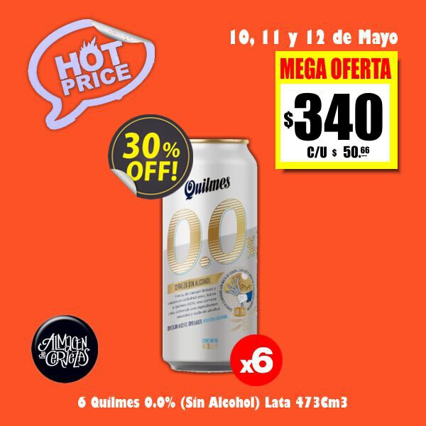 HOT PRICE - Quilmes 0.0% SIN ALCOHOL Lata 473 x6