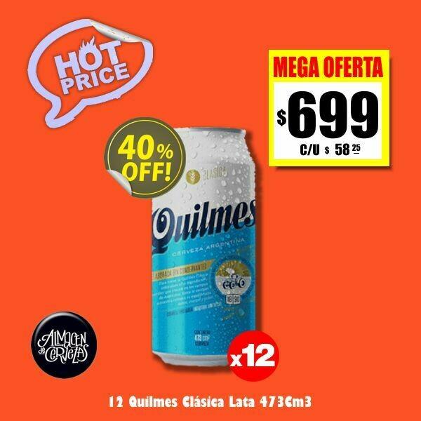 HOT PRICE - 12 Latas Quilmes Clásica 473Cm3