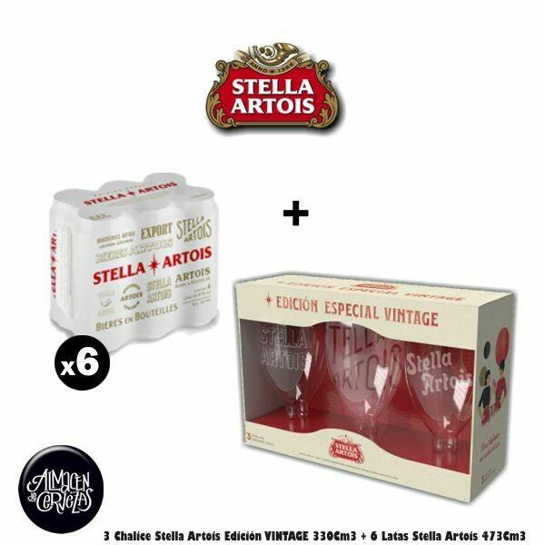 3 Cáliz Stella Vintage + 6 Stella Lata 473Cm3