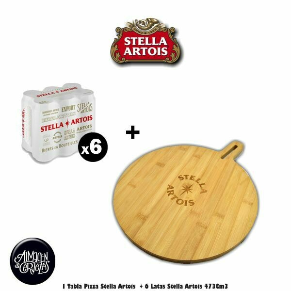Tabla Pizza Stella + 6 Stella Lata 473Cm3