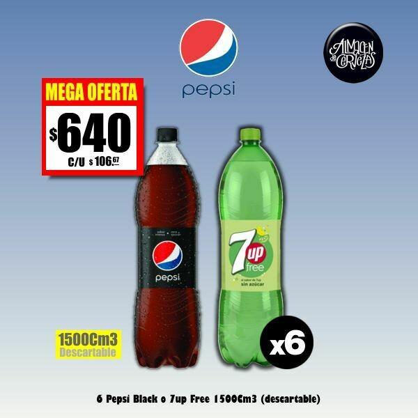 MEGA OFERTA - Pepsi Black o 7up sin azúcar 1500 x6