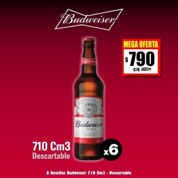 MEGA OFERTA Budweiser 710Cm3 x 6. Envío. Envío Express GRATIS (Bolívar)