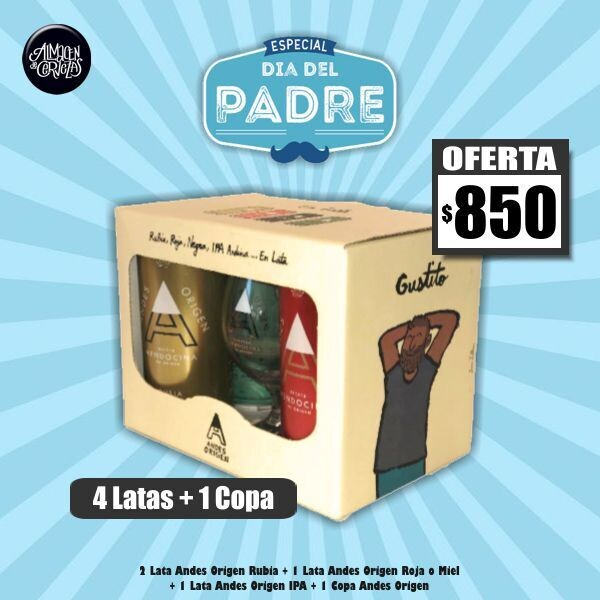 DIA DEL PADRE - Pack 4 Latas Andes + 1 Copa Andes