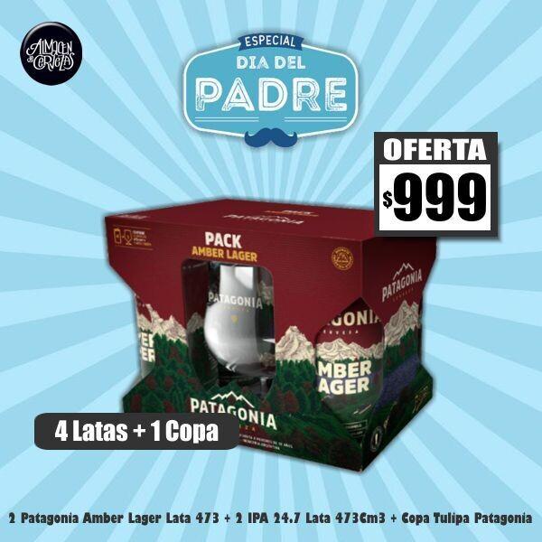 DIA DEL PADRE - Pack 4 Latas Patagonia + 1 Copa Patagonia