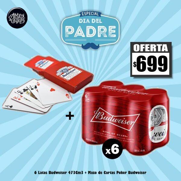 DIA DEL PADRE - Mazo Cartas + 6 Bud Lata 473Cm3