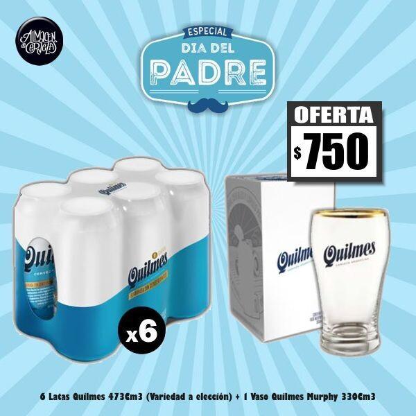 DIA DEL PADRE - Vaso Murphy 330Cm3+ 6 Quilmes Lata 473Cm3 (variedad a elección)