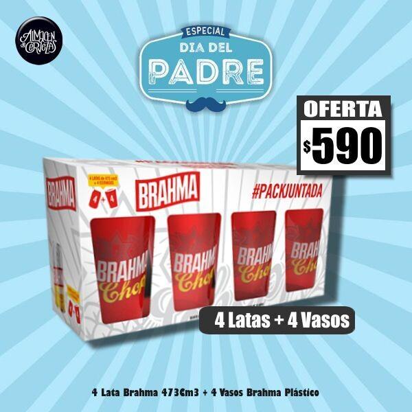 DIA DEL PADRE - 4 Vasos Brahma + 4 Latas Brahma 473Cm3