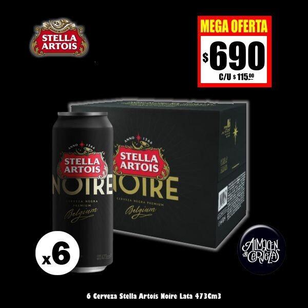 MEGA OFERTA - 6 Stella Artois Noire Lata 473Cm3