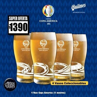COPA AMERICA - 4 Vasos Quilmes Copa América Pinta 330Cm3