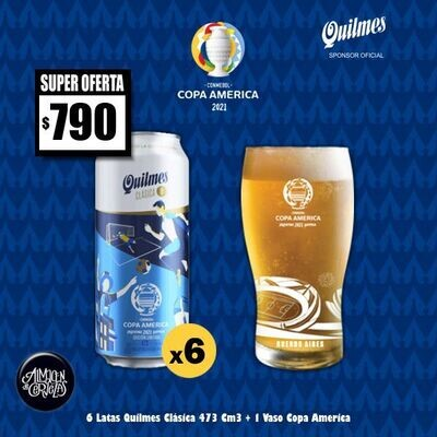 COPA AMERICA - 6 Latas Quilmes + 1 Vaso Copa América Quilmes