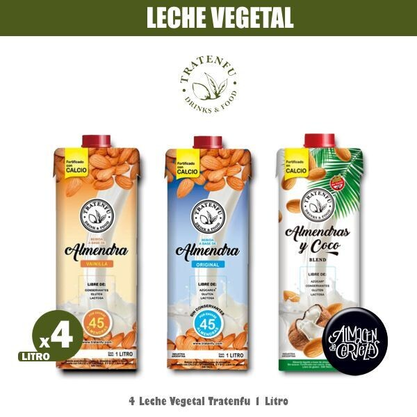 4 Leche Vegetal TRATENFU 1 Litro