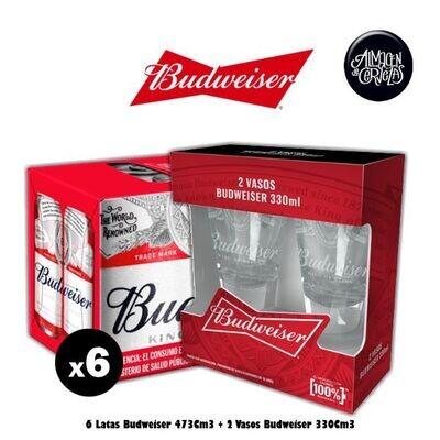 2 Vaso 330Cm3 Budweiser + 6 Latas Budweiser 473Cm3