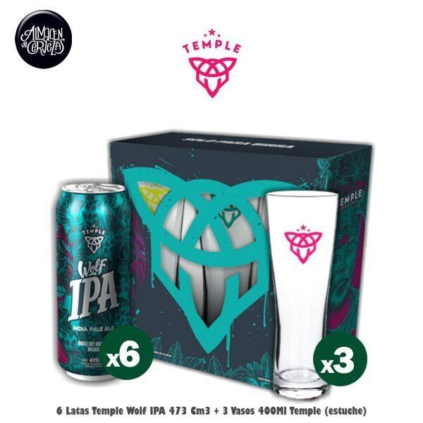 6 Temple Wolf IPA + 3 Vasos Temple (pack)