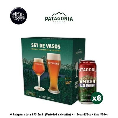 Two Pack Patagonia Vasos + 6 Latas Patagonia 473Cm3