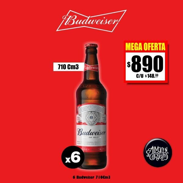 MEGA OFERTA - Budweiser 710Cm3 x 6.