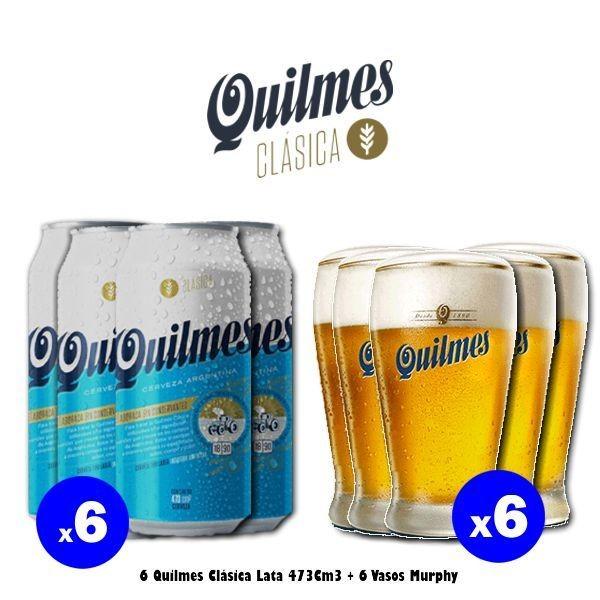 6 Latas Quilmes Clásica + 6 Vasos Murphy