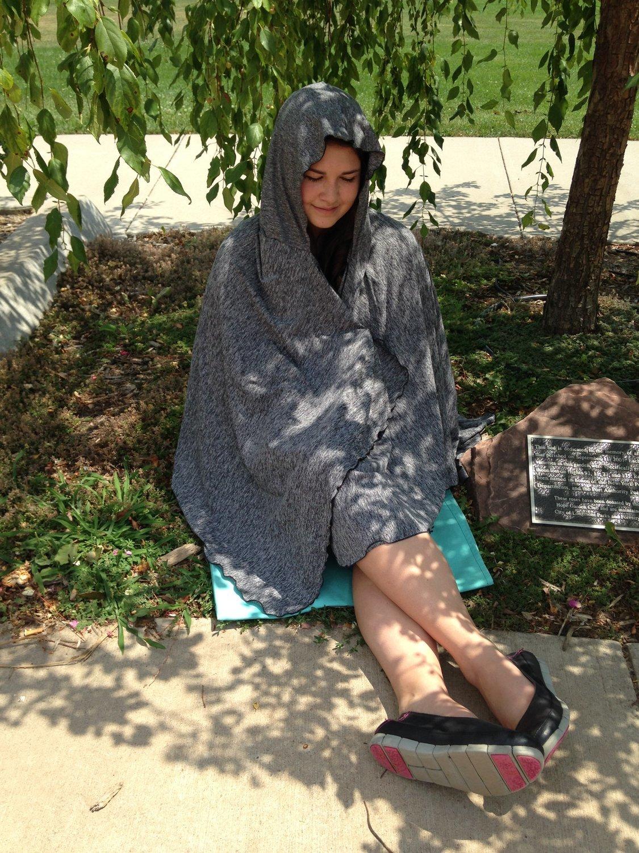 SPF 50 Long Hooded Shawl Grey