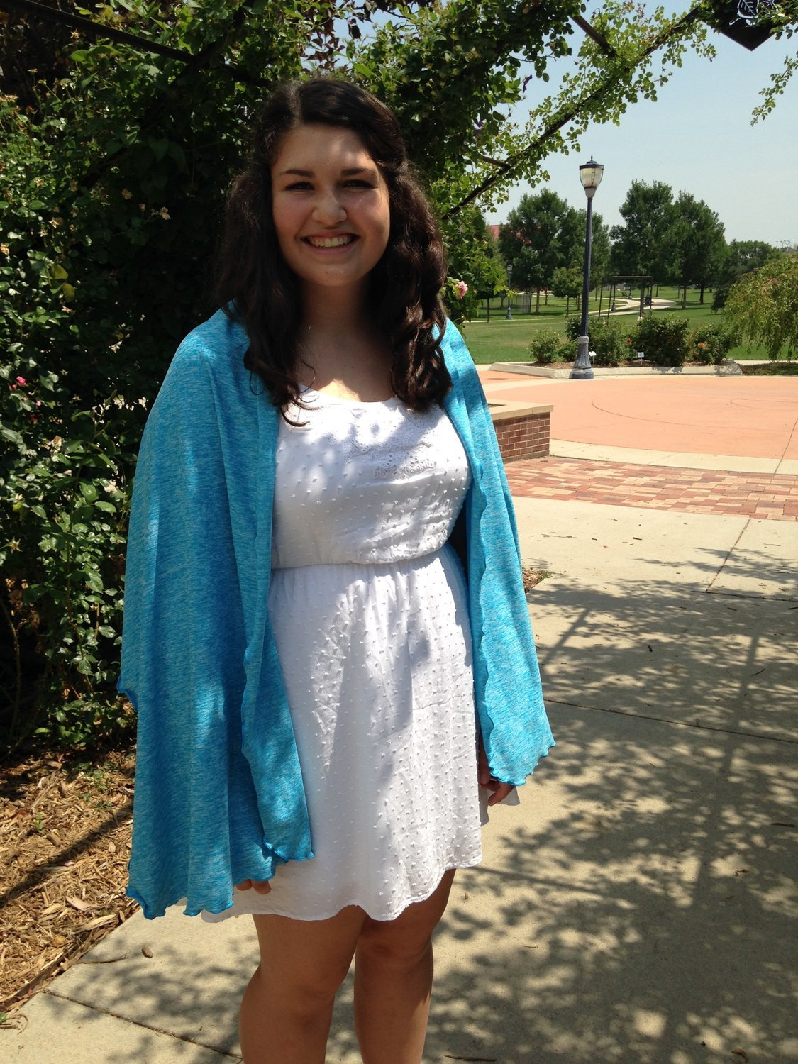 SPF 50 Non Hooded Shawl Turquoise