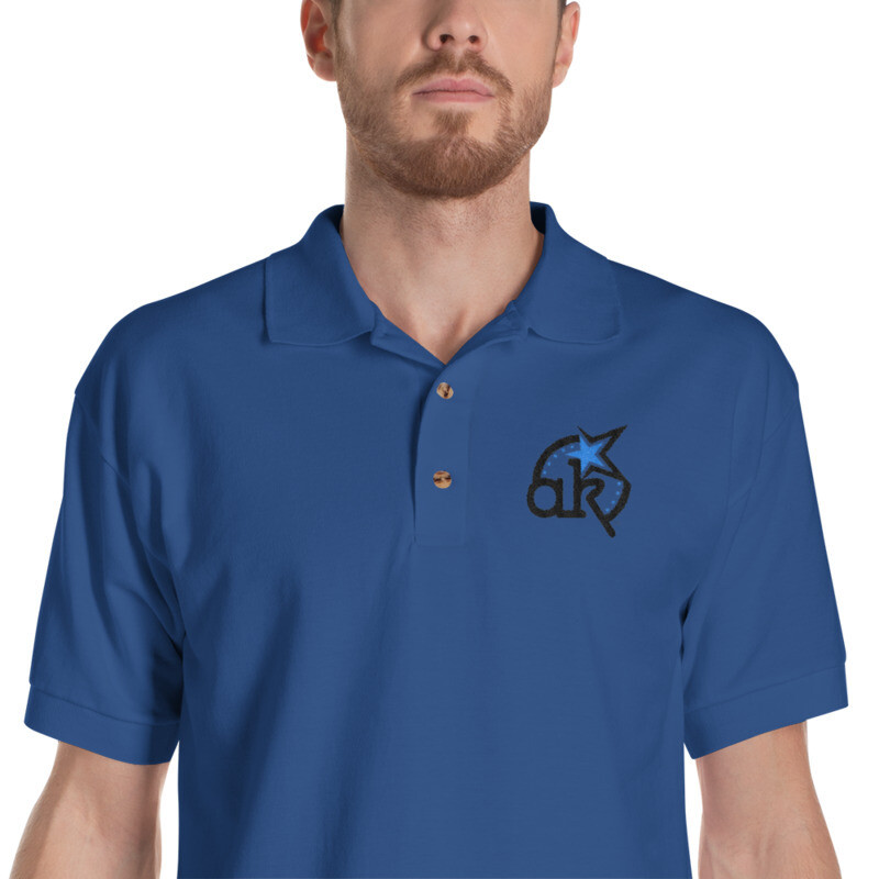 AKStar Logo Blue Embroidered Polo Shirt