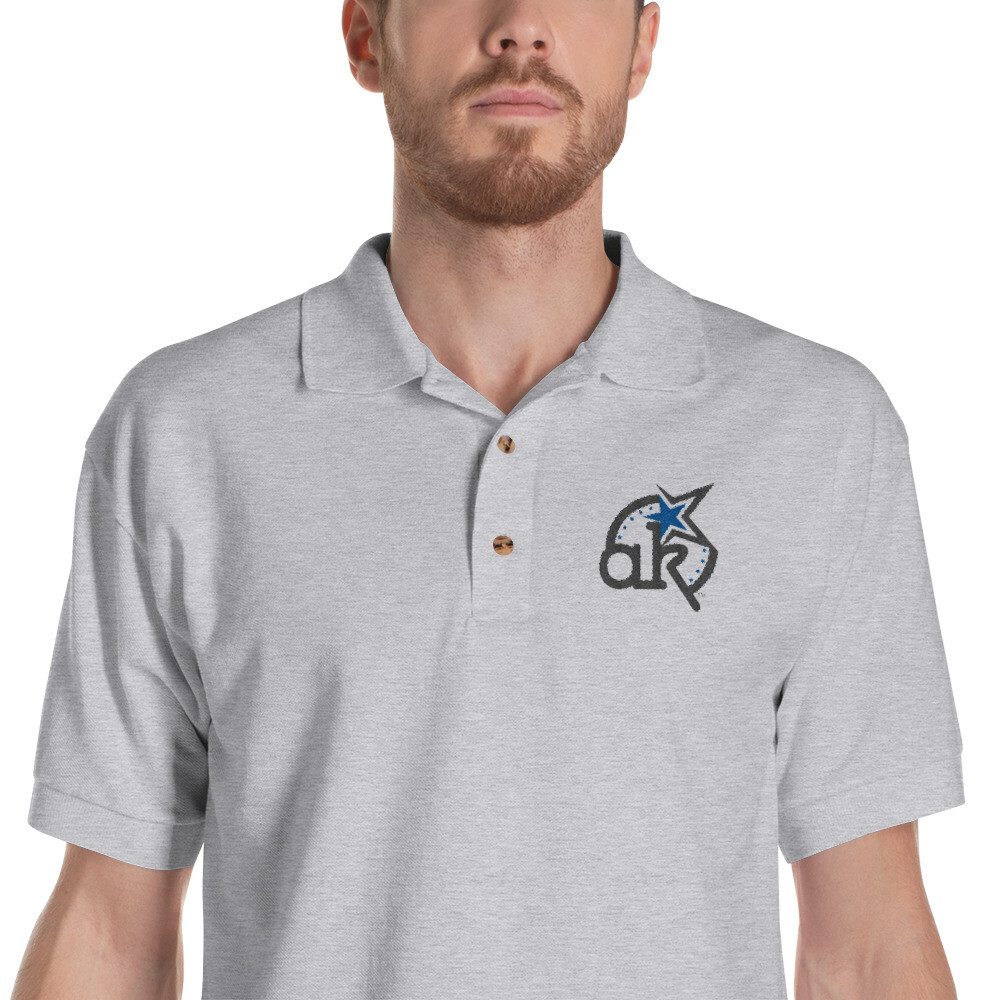 AKStar Logo Grey Embroidered Polo Shirt