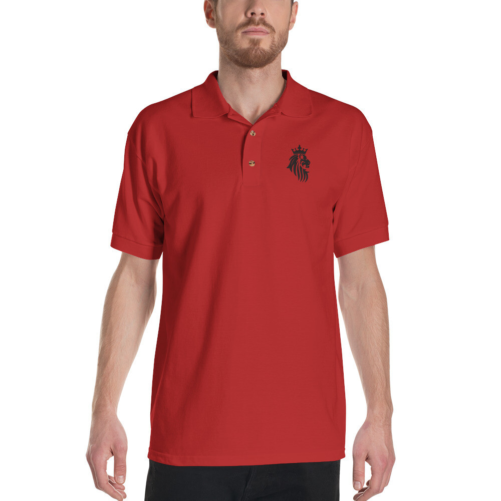 KO King Lion Red Embroidered Polo Shirt