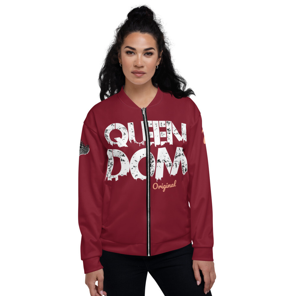 QD Original Womens Maroon Bomber Jacket