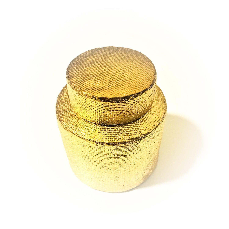 Gold Vase mit Deckel