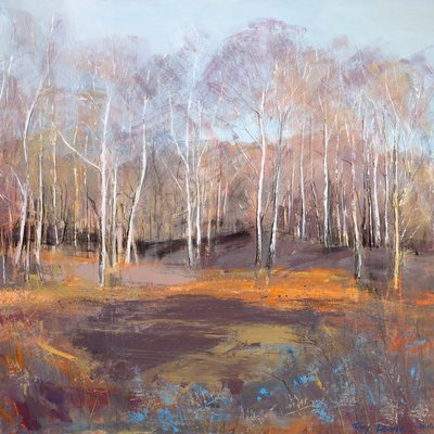 Silver Birch, on a Winters Day. Reproduction print.